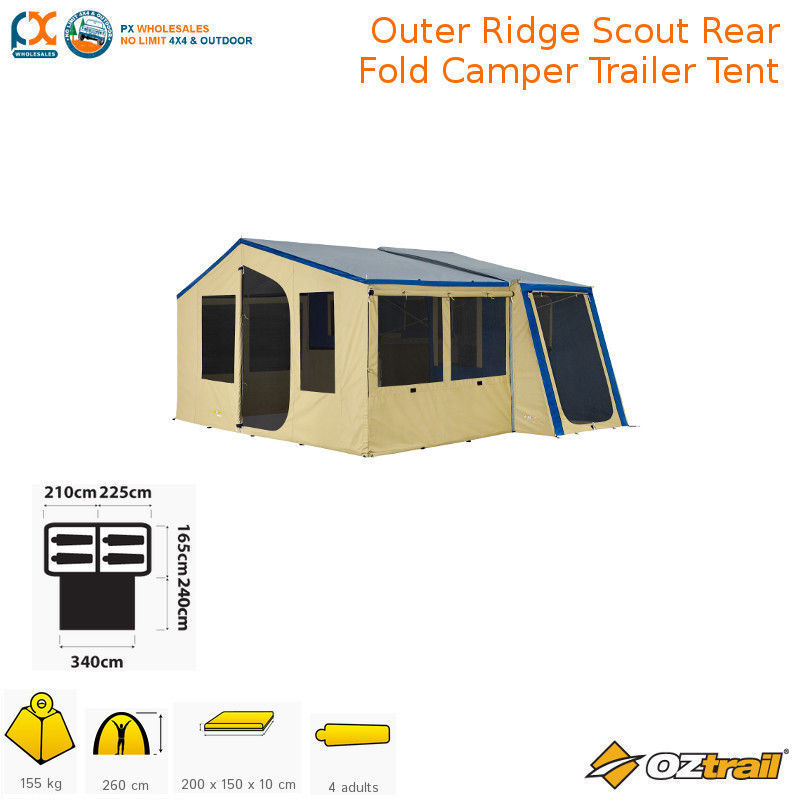 sc 1 st  PX Wholesales & OZTRAIL OUTER RIDGE SCOUT REAR FOLD CAMPER TRAILER TENT - Oztrail