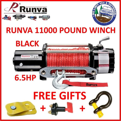 RUNVA 11000LB POUND ELECTRIC 6.5HP BLACK WINCH DYNEEMA ROPE WARN 4WD 11XP COMP