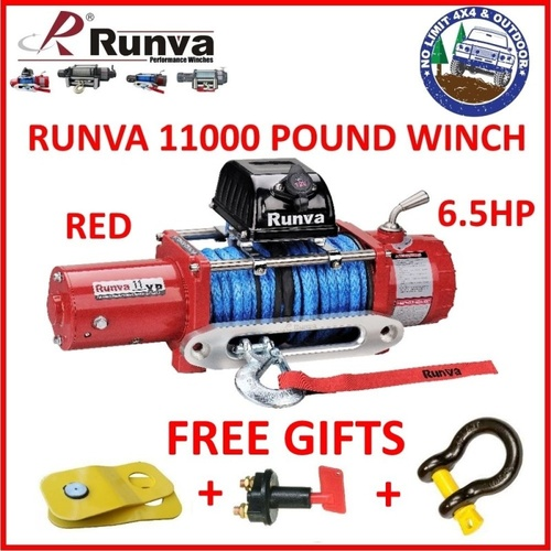 RUNVA 11000LB POUND ELECTRIC 6.5HP RED WINCH DYNEEMA ROPE ELECTRIC WARN 4WD 11XP COMP