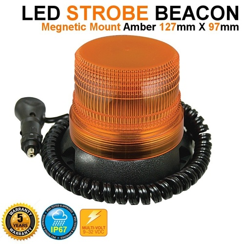 LED AUTOLAMPS MAGNETIC AMBER STROBE LIGHT BEACON WITH CIGARETTE PLUG 12V - 24V