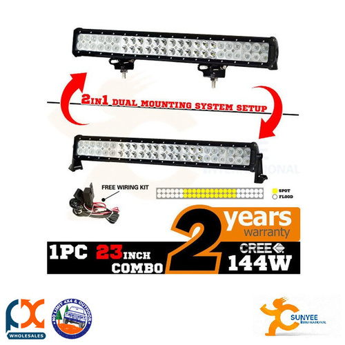 SUNYEE 144W CREE LED WORK LIGHT BAR FLOOD SPOT OFFROAD