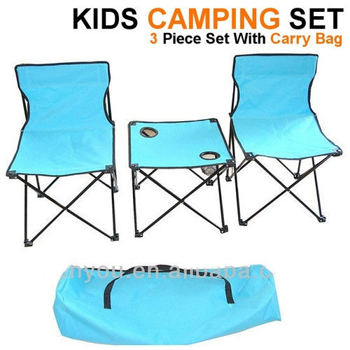 KIDS PORTABLE FOLDING CAMPING TABLE  CHAIR SET