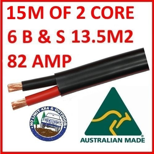 15 METRES X 6B&S TWIN CORE CABLE DUAL BATTERY SYSTEM 12V 6 B&S 10M 125 AMP 125A