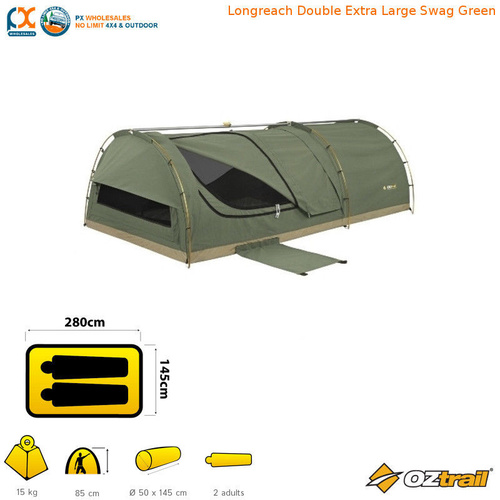 OZTRAIL LONGREACH DOUBLE SWAG GREEN
