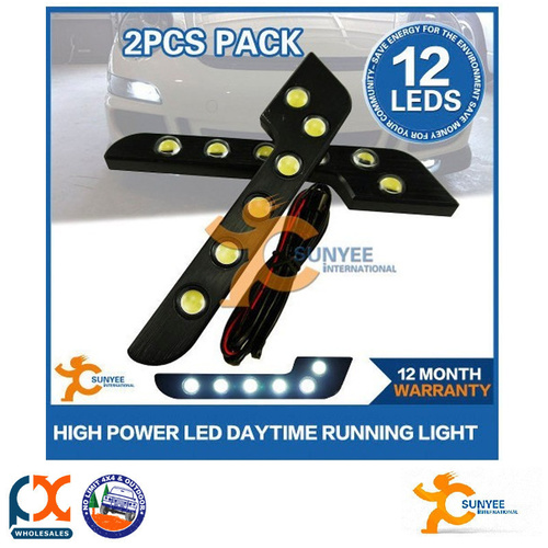 SUNYEE PAIR 6W HIGH POWER LED DRL DAYTIME RUNNING LIGHTS DRIVING WORK