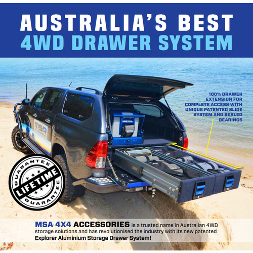 MSA 4X4 NP300 NISSAN D23 DOUBLE DRAWS 100% ADR DRAWERS DRAW LIGHT