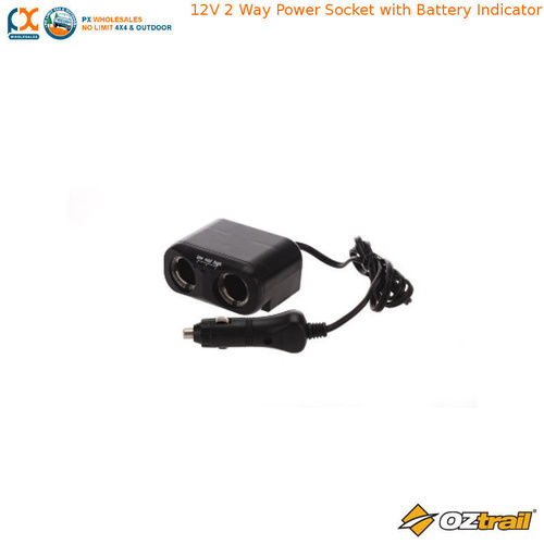 OZTRAIL 12V 2 WAY POWER SOCKET WITH BATTERY INDICATOR
