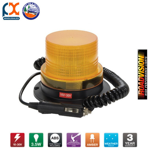 EX-55MVY LED BEACON QUAD STROBE AMBER MAGNETIC