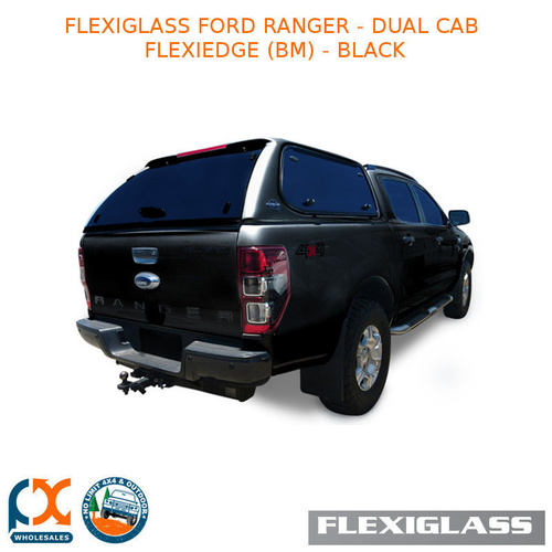 FLEXIGLASS FORD RANGER - DUAL CAB FLEXIEDGE LIFT UP WINDOOR X 2 (BM) - BLACK