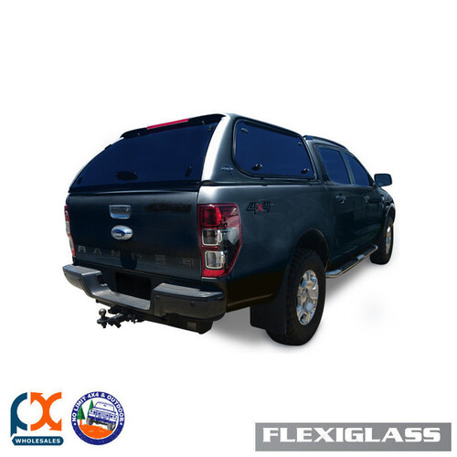 FLEXIGLASS FITS FORD RANGER - DC FLEXIEDGE LIFT UP WINDOOR X 2 (TG) -METEOR GREY