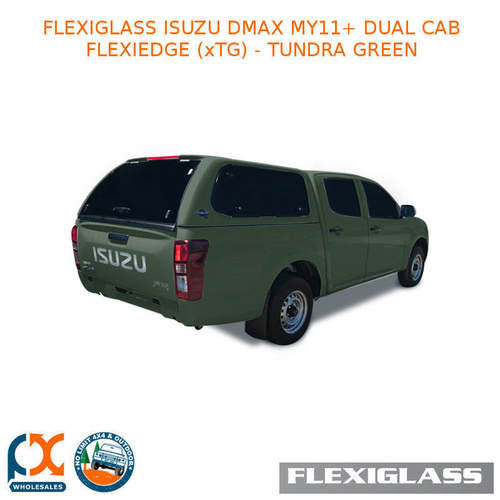FLEXIGLASS ISUZU DMAX MY11+ DUAL CAB FLEXIEDGE LIFT UP WINDOOR X 2 (XTG) - TUNDRA GREEN