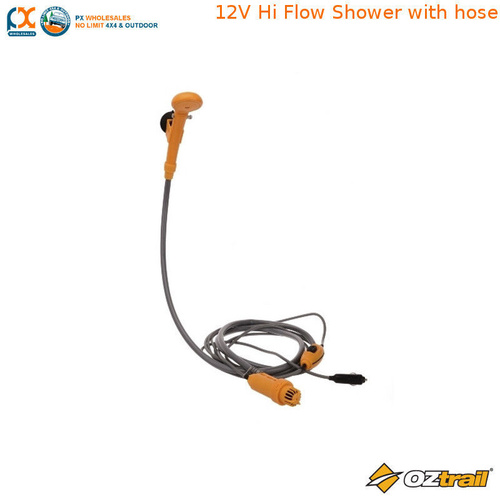 OZTRAIL 12V HI FLOW SHOWER WITH HOSE