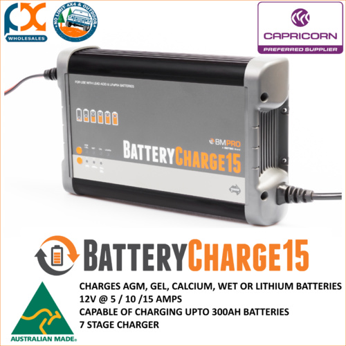 BATTERY CHARGER 15AMP AGM GEL CALCIUM WET OR LITHIUM AUSTRALIAN MADE! BMPRO