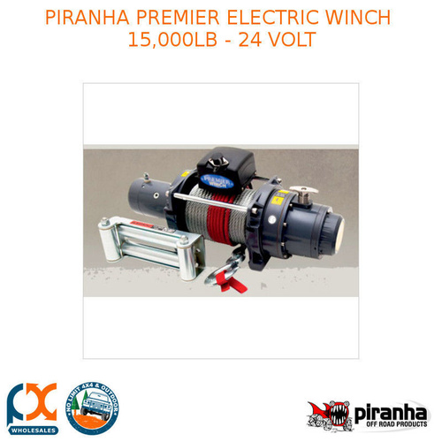 PIRANHA PREMIER ELECTRIC WINCH 15,000LB - 24 VOLT