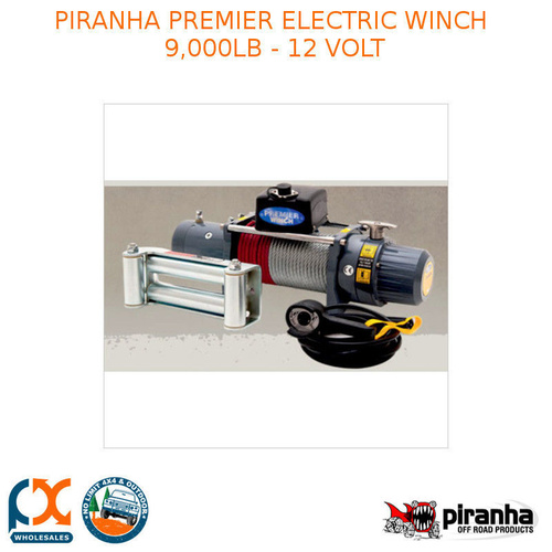 PIRANHA PREMIER ELECTRIC WINCH 9,000LB - 12 VOLT