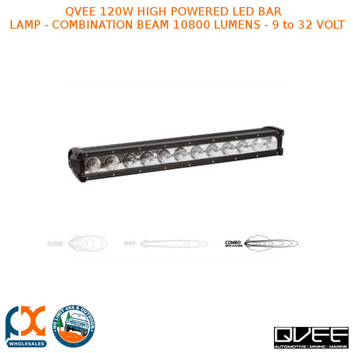 QVEE 120W HIGH POWERED LED BAR LAMP COMBINATION BEAM 10800 LUMENS 9 to 32 VOLT