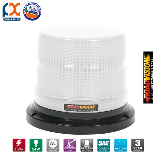 RB165W LED BEACON ROTATING WHITE FIXED