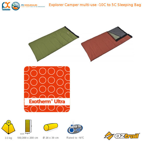 OZTRAIL EXPLORER CAMPER MULTI-USE -10C TO 5C EXOTHERM ULTRA FILL SLEEPING BAG