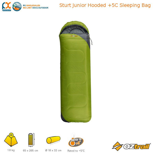 OZTRAIL STURT JUNIOR HOODED +5C SLEEPING BAG