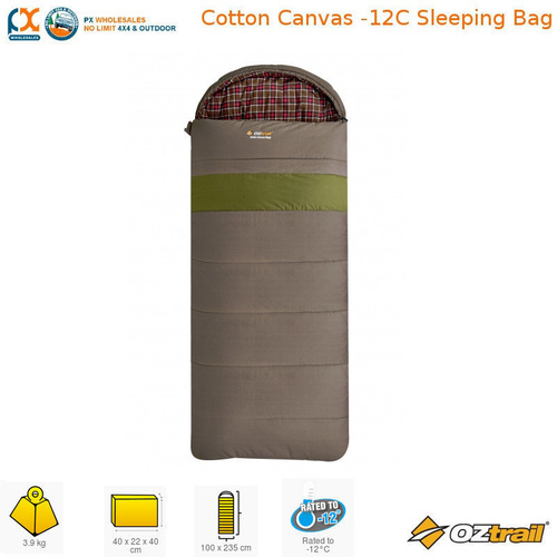OZTRAIL COTTON CANVAS -12C HOODLESS EXOTHERM EXTREME SLEEPING BAG