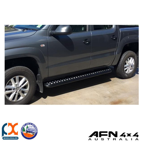 AFN VOLKSWAGEN AMAROK 2010-ONWARDS SIDE STEPS WITH ALUMINIUM CHECKERED PLATE TOP