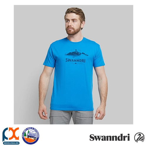 SWANNDRI MEN'S DAWN COTTON TEE - ELECTRIC BLUE