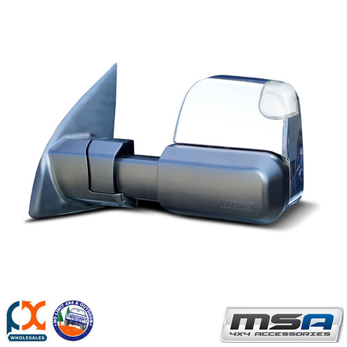 MSA 4X4 TOWING MIRROR (CHROME ELECTRIC BIG BASE INDICATORS) SUIT TOYOTA LC 84-C