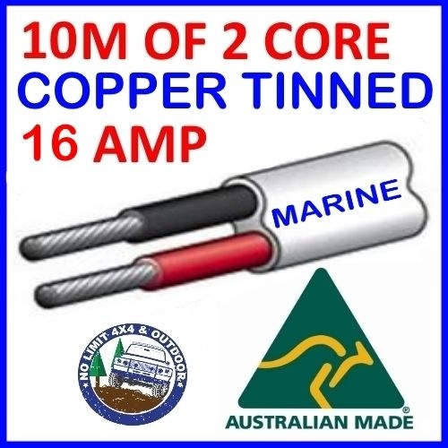10M OF 2 CORE 3MM WIRE MARINE TINNED COPPER TRAILER CABLE BOAT 12V TWIN METRES