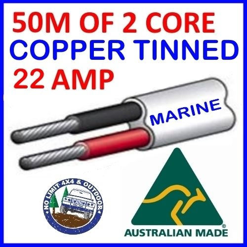 50M OF 2 CORE 4MM WIRE MARINE TINNED COPPER TRAILER CABLE BOAT 12V TWIN METRES