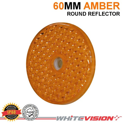 60MM ROUND AMBER BOLT OR SCREW WHITEVISION REFLECTOR TRAILER TRUCK 4WD