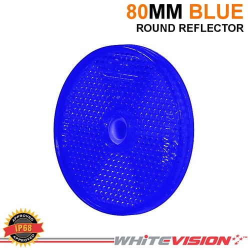 80MM ROUND BLUE BOLT OR SCREW WHITEVISION REFLECTOR TRAILER TRUCK 4WD WR80B