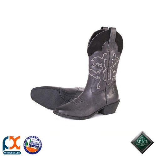 MUCK BOOT - HORSE  STABLE - WOMEN'S WESTERN LEATHER BOOT GREY