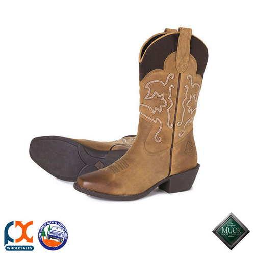MUCK BOOT - HORSE  STABLE - WOMEN'S WESTERN LEATHER BOOT TAN